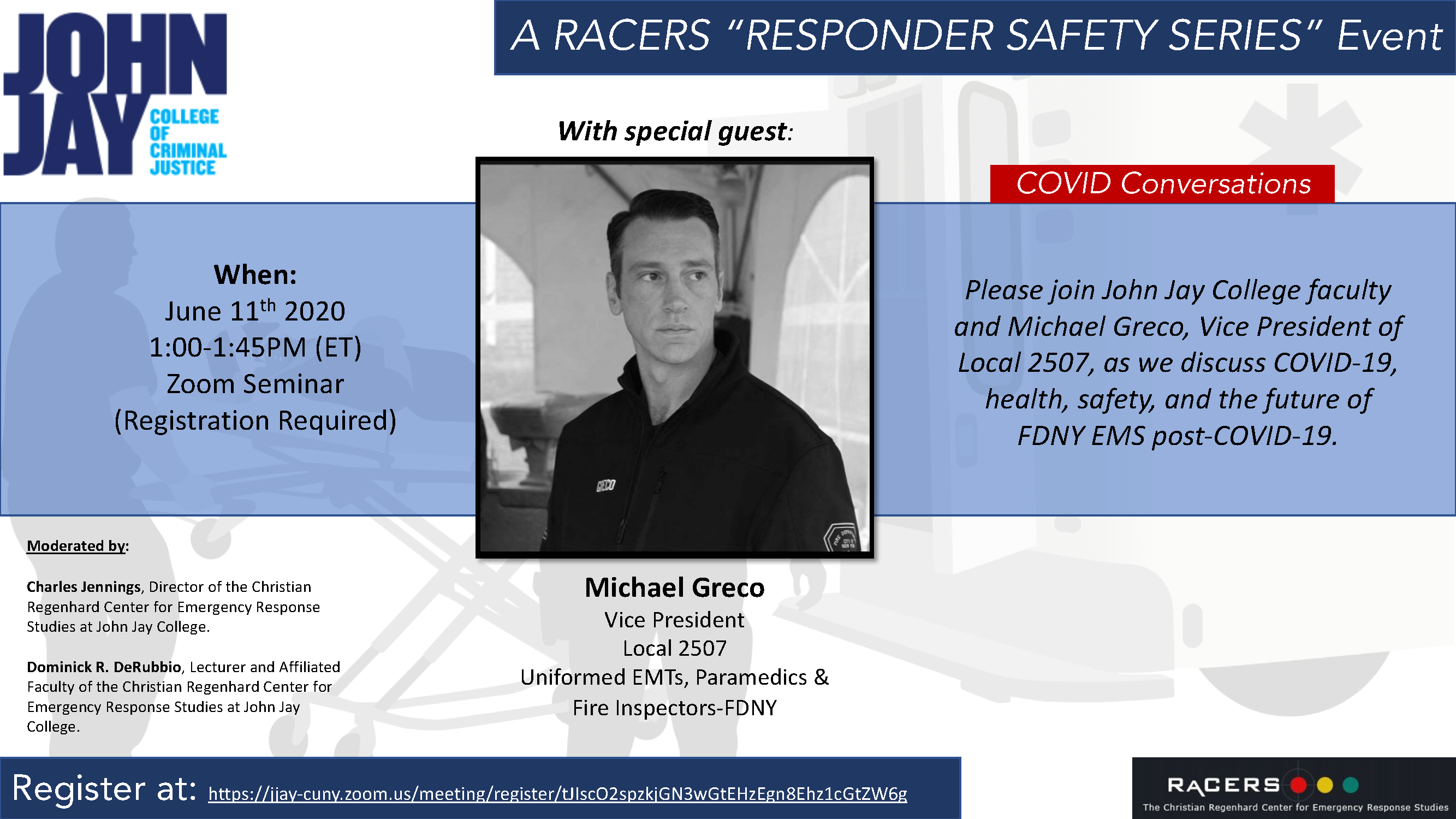 RaCERS Goes Online with Seminar Series: First Up, Michael Greco from FDNY Local 2507